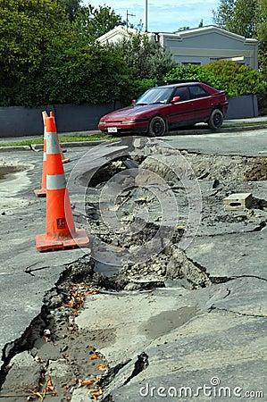 Christchurch Earthquake - Car Falls into Crack Editorial Stock Photo