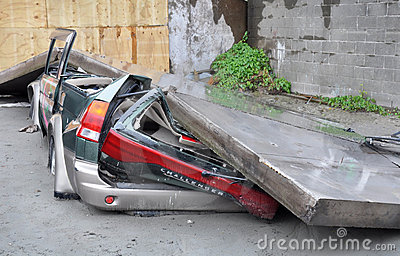 Christchurch Earthquake - Car Flattened by Wall Editorial Photography