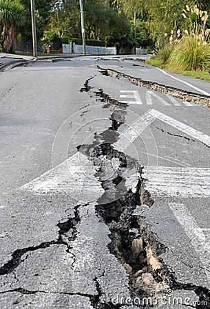 Christchurch Earthquake - Cracks in Avonside Editorial Photo