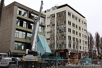 Christchurch Earthquake demolition Editorial Stock Photo