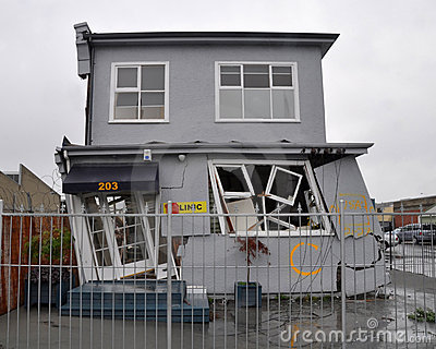 Christchurch Earthquake - House On A Lean Editorial Stock Image