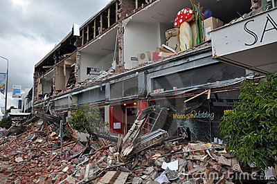 Christchurch Earthquake - Merivale Shops Destroyed Editorial Image