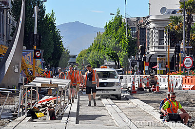 Christchurch Earthquake - New Tram Tracks Editorial Photo