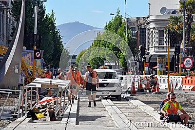 Christchurch Earthquake - New Tram Tracks Editorial Photo