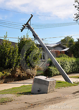 Christchurch Earthquake - Power Poles Collapse Editorial Photography