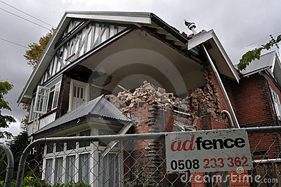 Christchurch Earthquake - St Marys Vicarage Editorial Stock Photo