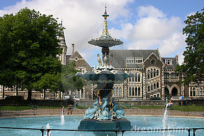 Christchurch fountain in Hagley Park