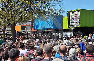 Christchurch Reconstruction - Central Retail Opens Editorial Stock Image
