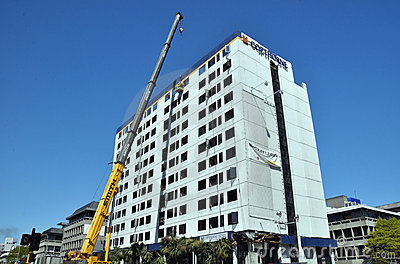 Christchurch Reconstruction - Hotel Demolished Editorial Photo