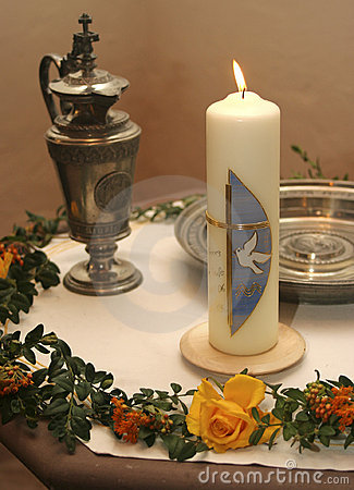 Free Christening Candle Royalty Free Stock Photo - 3894775