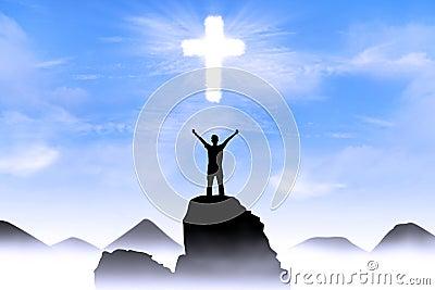 Christian background: Man worshiping God