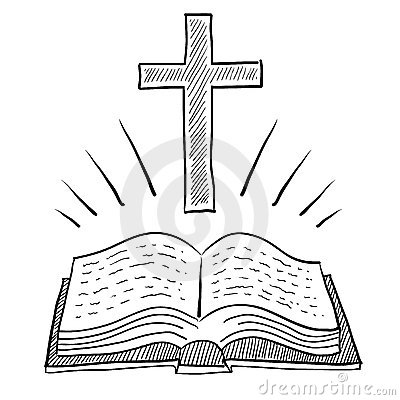 Christian Bible and cross drawing