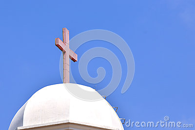 Christian church dome and cross