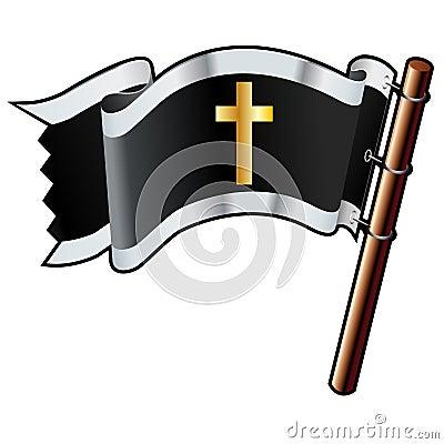 Christian cross on black flag