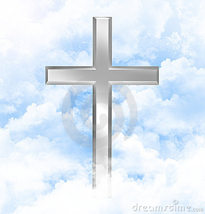 Christian cross in blue sky