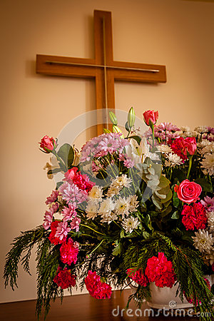 Christian Cross And Flowers On Altar Stock Photo - Image ...