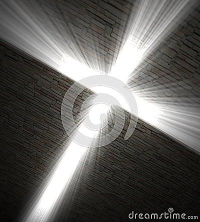 Christian cross of light