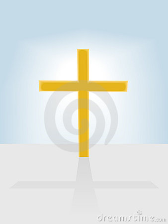 Christian cross radiant on blue sky background