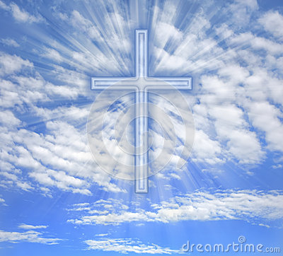 Free Christian Cross With Light Beams Over Sky Royalty Free Stock Photos - 29395288