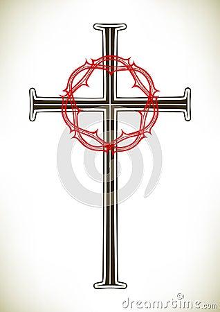 Christian cross and wreath