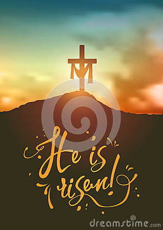 Free Christian Easter Scene, Saviour`s Cross On Dramatic Sunrise Scene, With Text He Is Risen, Illustration Royalty Free Stock Photography - 89816147