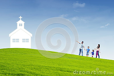 Christian family go to Church