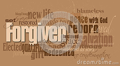 christian forgiven word montage stock vector image 58403159