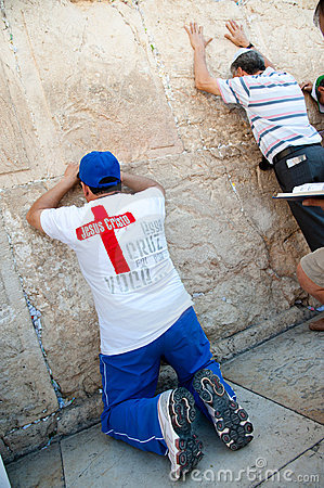 Christian Praying at Western Wall Editorial Stock Photo