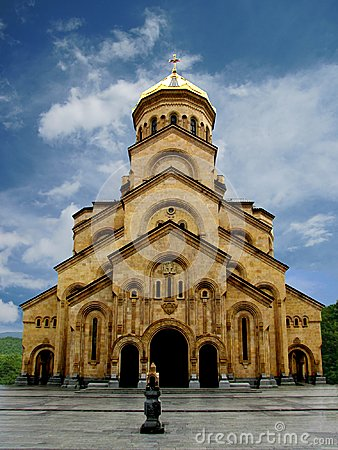 Free Christian Stone Church With A Gilded Dome Stock Images - 105992254