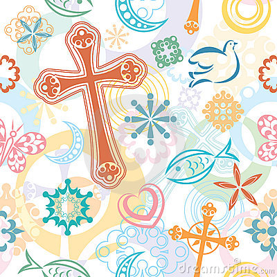 Christian Symbols Seamless Pattern
