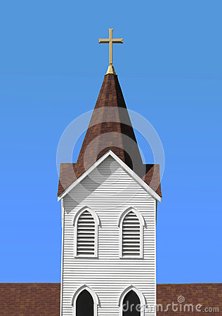 Christian white church steeple with cross