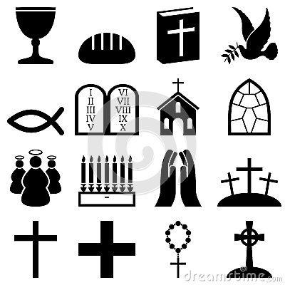 Free Christianity Black & White Icons Stock Photography - 27451282