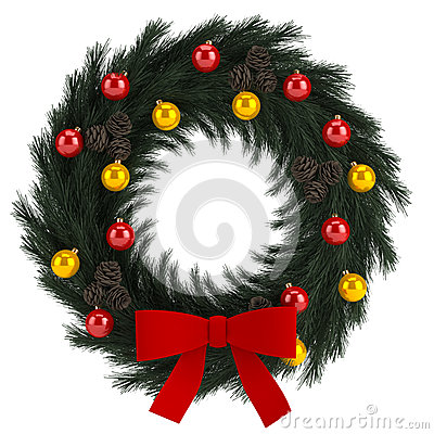 Christmas advent wreath isolated on white