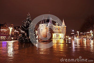 Christmas in Amsterdam at the Nieuwmarkt in the Netherlands by n
