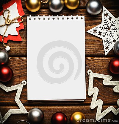 Free Christmas And New Year Card, Or Mock Up, Or Empty Blank Notebook On Vintage Wooden Table Top View Stock Photography - 102855132