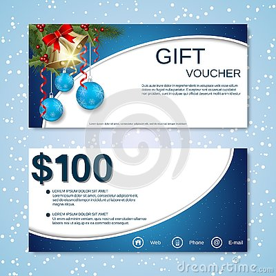 Free Christmas And New Year Discount Coupon, Gift Voucher Vector Template Royalty Free Stock Images - 130501659