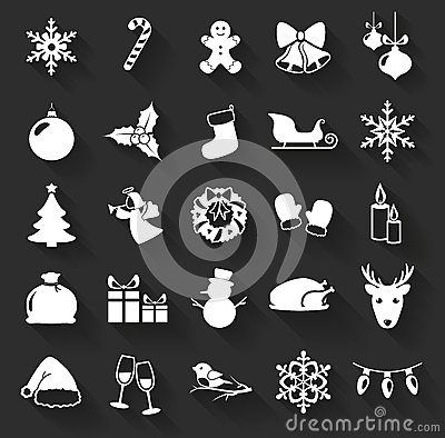 Free Christmas And New Year Flat Icons. Vector Illustration. Royalty Free Stock Images - 47246449