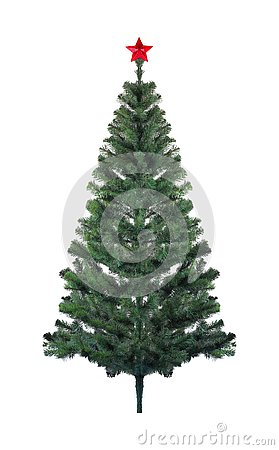 Free Christmas And New Year - New Year Christmas Tree And Red Star Stock Photography - 129578802