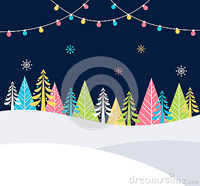 Free Christmas And Winter Holidays Events Festive Background With Snow, Trees And Christmas Lights. Vector Poster Template Royalty Free Stock Photos - 80397908