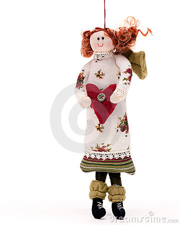 Christmas angel doll on white