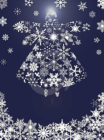 Christmas Angel Flying with Snowflakes