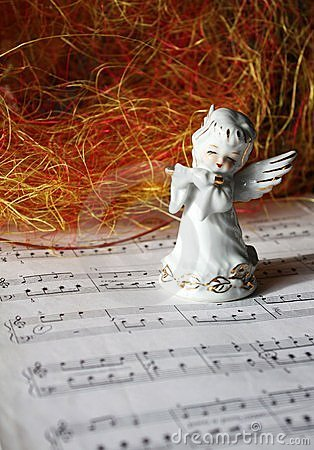 Christmas angel playing the flute