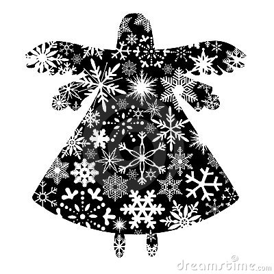 Christmas Angel Silhouette with Snowflakes Design