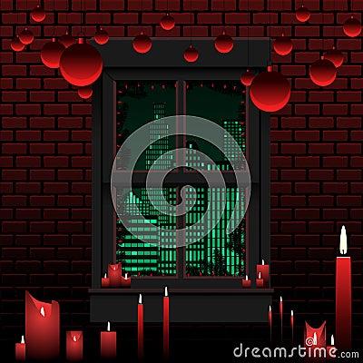 Christmas apartment window