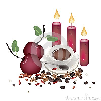 Free Christmas Apples With Spices And Hot Coffee Royalty Free Stock Photography - 46371977