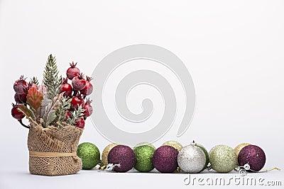 Christmas arrangement of Christmas tree decorations Stock Photo
