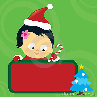 Christmas Asian baby girl holding sign
