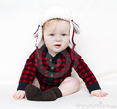 Christmas baby with red shirt and hat