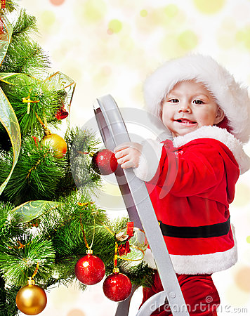 Christmas baby on a step ladder