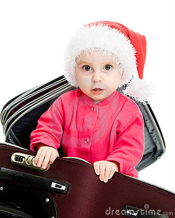 Christmas baby in the suitcase